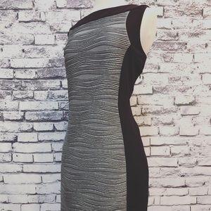 Calvin Klein Textured Grey Black Sheath Dress